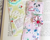 Set of Two {2} Happy Birthday Fabric Bookmarks, Book Lovers, Reading, Book Gifts, Free USA Shipping