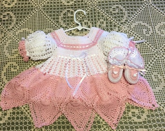 Crocheted Baby Girl Dress, Crocheted Special Baby Girl Dress,