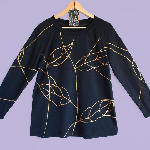 GOLDEN LEAVES. Black Merino top. Merino sweatshirt. Golden leave print. Long sleeve merino top.