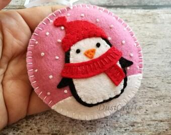 PRE ORDER / Felt Christmas Penguin ornament, Penguin snowing ornament, Pink tree ornaments, Christmas decoration, Snowing ornament