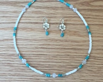 Choker with Turquoise and Flower Drop Earring Set
