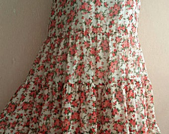 90s Floral Grunge Dress - Sleeveless Garden Dress - Chiffon