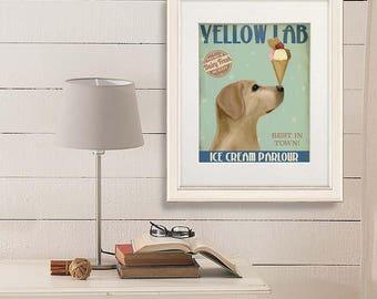 Ice cream cone party - Labrador yellow ice cream dog- Ice cream parlour Ice cream print Ice cream decor Ice cream birthday home decor