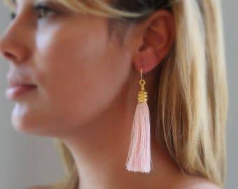 Silk Tassel Earrings, Pink Tassel Earrings, Gold Tassel Earrings, Tassle Earrings, Statement Earrings, Gold Hoop Earrings, Long Earring