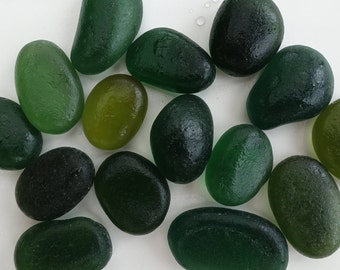 English sea glass - green pieces