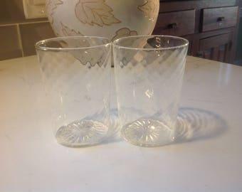 Antique Crystal Italian Wine Glasses - set of 2