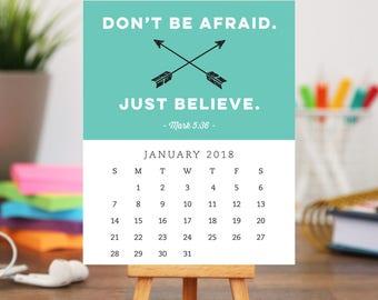 2018 Desk Bible Verse Calendar and Stand - Inspirational and Motivational Scripture Designs - Stocking Stuffer