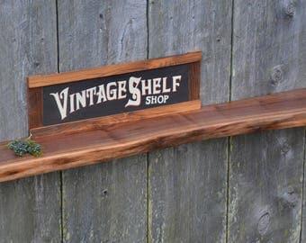 Natural Live Edge Walnut Ledge Mantel, Floating Shelf, Art Display