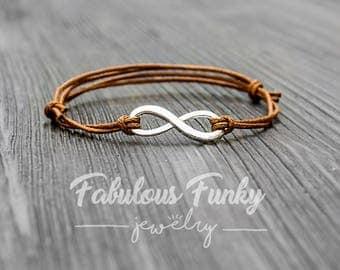 Infinity bracelet - Brown / silver
