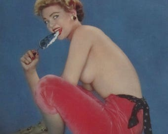 1950's Sexy Pinup You Can't Have Your Cake & Eat It Too Calendar Art Print - Free Shipping