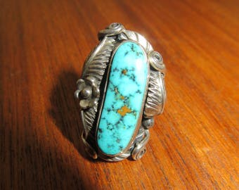 1970's James Shay Navajo Sterling Turquoise Ring Size 6 3/4 - Free Shipping