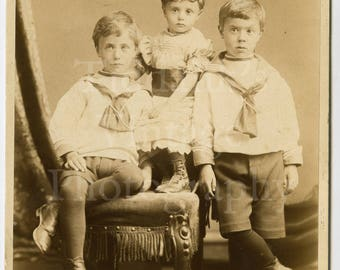 Cabinet Card Photo - Victorian Cute Portrait of 2 Brothers, Little Sister Sailor Outfit Children- L R Goodman of Margate England - Antique