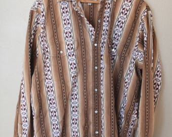 vintage western cowboy aztec brown button up shirt