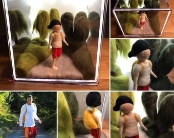 Needle Felted Custom Doll Collage With Led Light Box