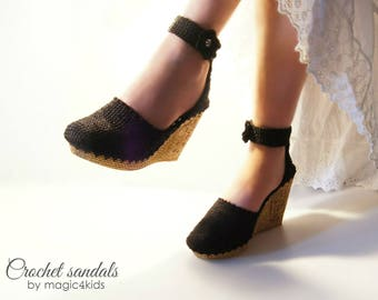 Eleni's wedge sandals - women crochet sandals, made to order, crochet sandals with soles, street sandals, wedges