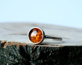 Sterling Silver Ring with Natural Amber Gemstone, Healing Stone
