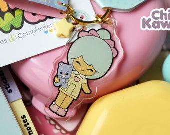 Chic Kawaii toy doll Keychain Acrylic. Lovely.