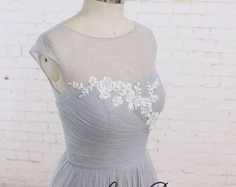 Lace Evening Dress Cap Sleeves Evening Formal Dress Lace Prom Dress Light Gray Prom Dress Bridesmaid Dress Lace Prom Dress