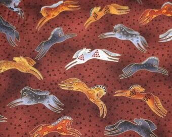 Laurel Burch Rare Oop EMBRACING HORSES Jumping Horses Fabric BTHY