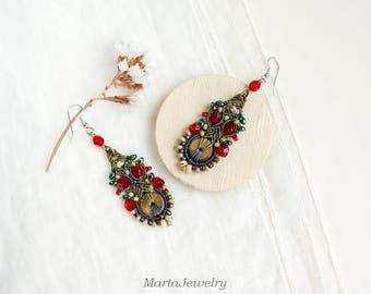 Tribal, beaded earrings, bohemian, boho chic, bone glass, macrame earrings, micro-macrame jewelry, long, dangling, beadwork, red brown green