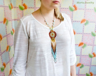 Fringe necklace, micro-macrame jewelry, glass, beaded, bohemian, boho chic, red orange sky blue brown, unique, long, dangle, tassel, agate