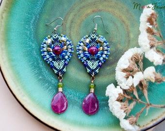 Gemstone macrame earrings, agate, quartz, extra long, beaded, micro-macrame jewelry, beadwork, bohemian, boho chic, unique, special occasion