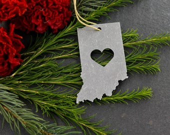 Love Indiana IN Aluminum Metal Christmas Ornament Rustic Home spring Decor Personalized Gift for Him Her Housewarming Wedding Heart