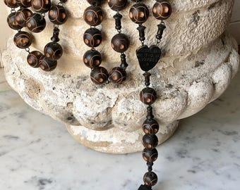 antique French ebonized wood rosary