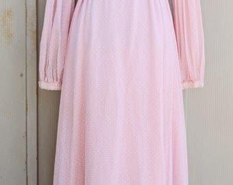 Light Pink Prairie Dress - Long Sleeve Maxi Dress - Polka Dot Dress - 70s Dress - 1970s Dress - Peasant Dress - Hippie Dress - Boho Bohemian