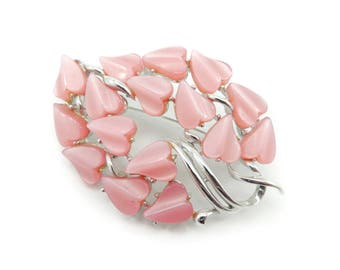 Vintage Coro Pink Thermoset Brooch, Thermoplastic, Signed