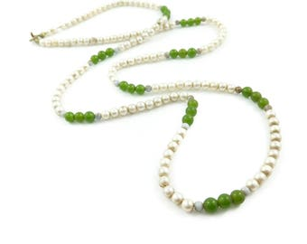 Vintage Faux Jade Bead Necklace, Faux Pearls