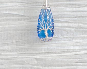 Tree of Life copper wire wrapped Hydrotherdal Crystal pendant
