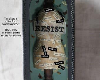 RESIST Shrine, Mature Language, Found Object, Assemblage, Shrine, Grotto, Resist Movement, Shadow Box