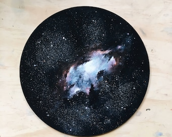 Space Painting - Circular Wall Art - Outer Space - Nebula Painting - Galaxy Painting - Original Art - Starry Painting