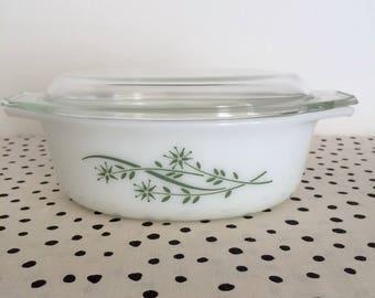Vintage Pyrex Green Honeysuckle 043 Casserole Dish, Pyrex Honeysuckle 043, Pyrex Green Floral Casserole, Green Pyrex, 043 Pyrex Casserole
