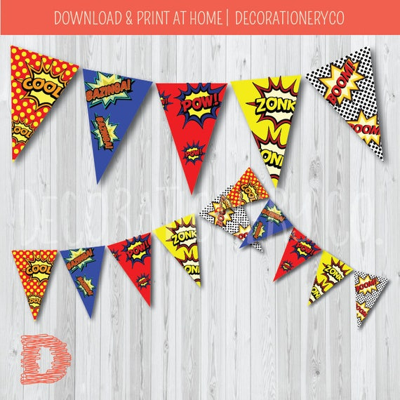 Free Comic Book Day Banner: Super Hero Party Birthday Banner, Bunting, Comic Book