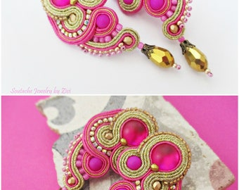 Custom Color Long Stud Earrings, Soutache Earring, Bridesmaid Wedding guest Jewelry, Soutache Jewelry, Fuchsia Gold Stud Clip on earring