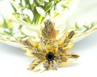 Vintage Leaf Brooch - Black Rhinestone Brooch - Vintage Brooch - Gift for her - Mom Gift - Coat Brooch - Fashionista Gift - Vintage Jewelry