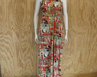 Vintage 1970's JULI JR Nylon India Print Hippie Maxi Dress Negligee Small Medium S / M