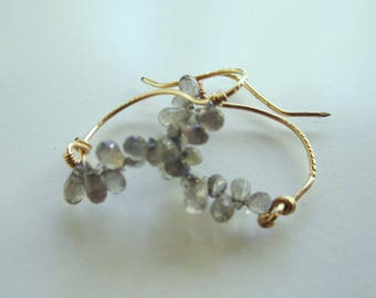 Labradorite and Gold Earrings,  Roman Style, Handmade Labradorite and Gold, Drop Hoop Earrings, 'Swan' Earring, Labradorite and Gold