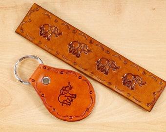 Elephant Keychain Gift Set Leather Bookmark Gift Set Leather Keychain Elephant Lover Gift Set Anniversary Gift Lover Elephant Gift Set