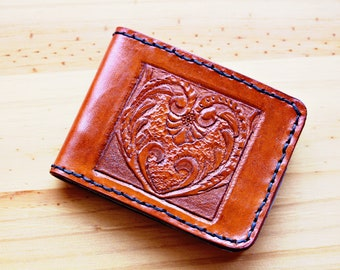 Art Deco Wallet Leather Wallet Hand Carved Leather Wallet Art Deco Gift For Husband Father Gift For Dad Hand Tooled Leather Bifold Wallet