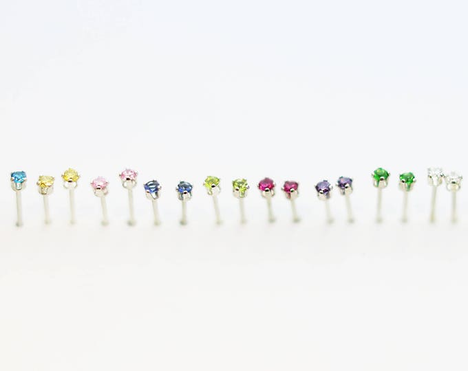 Tiny Birthstone CZ Stud Earrings // Colorful small CZ Stud Earrings // Birthday gift