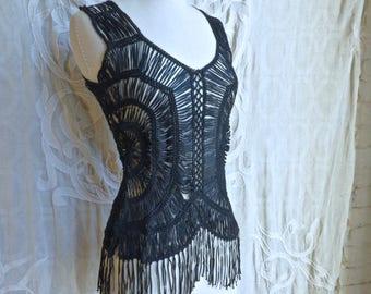 Black Beaded Ribbon Crochet Top