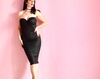 Strapless Little Black Dress by HARDLEY DANGEROUS COUTURE in Wet Look designer Ponte de Roma, Sexy Stretch Knit Pin Up Cocktail Party Dress