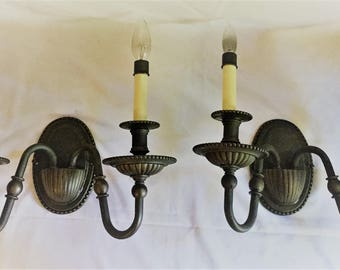 Pair Hinkley Rockford Bronze Indoor Double Candle Wall Sconces Excellent Cond!