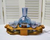 RESERVED Vintage Blue Glass Cordial Set with Carrier Iridescent Blown Glass Wooden Holder Aperitif Shot Glass Barware PanchosPorch