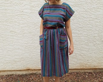 Vintage Striped Purple Red Ikat Folk Chevron Summer Midi Dress 70s 1970s M