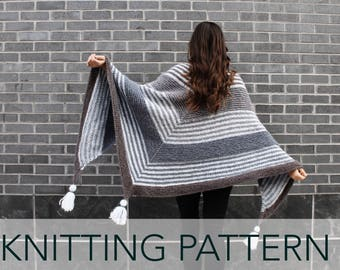 Knitting Pattern // Triangle Shawl Wrap Top Down Striped Tassels // Stratus Wrap PATTERN