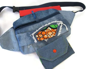 Fanny Pack,  Denim, Patchwork, African Wax Print, Playful, Hip Bag, Women Fanny Pack, Waist Bag, Travel Bag, Designer Style